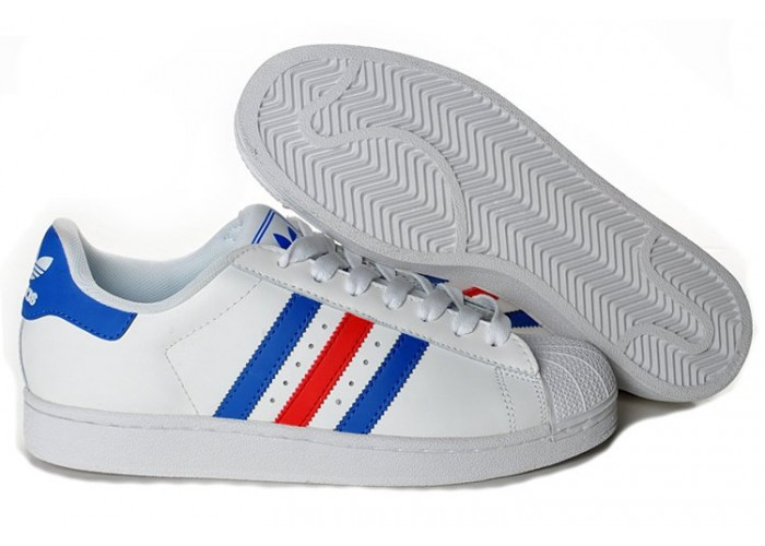 """Adidas Superstar """"Supercolor""""(White/Blue/Red) (001)"""