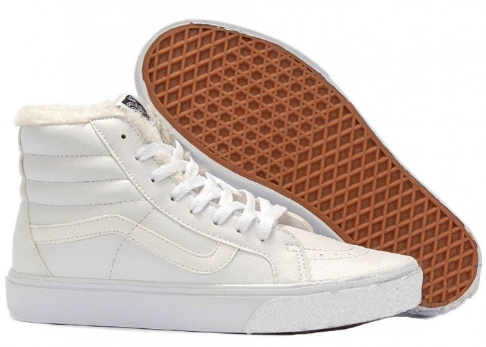 Vans Old Skool Leather With Fur (All White) (009)