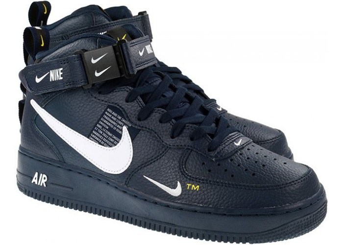 Кроссовки унисекс NIKE AIR FORCE 1 MID UTILITY 07 LV8 OBSIDIAN WHITE BLACK (36 45)