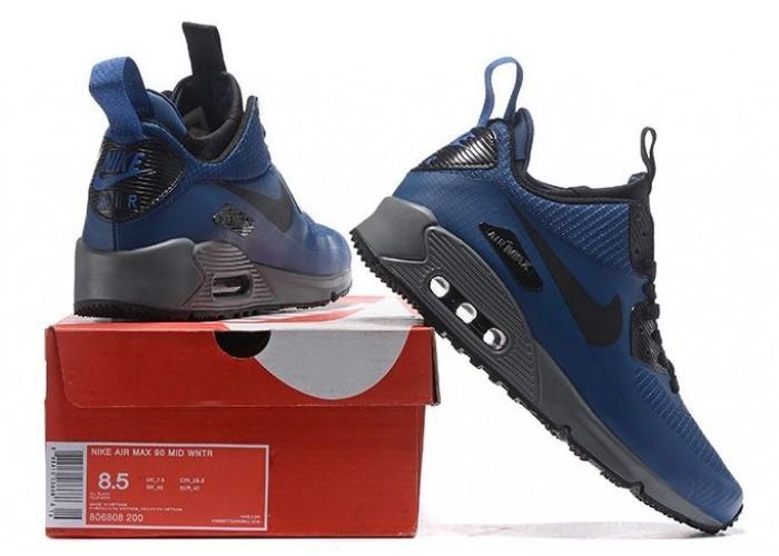 Кроссовк Nike Air Max 90 Mid (синий) (066)
