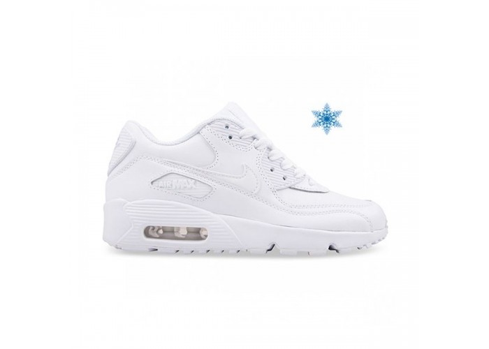 Кроссовки Nike Air Max 90 White Leather с мехом (36-45)